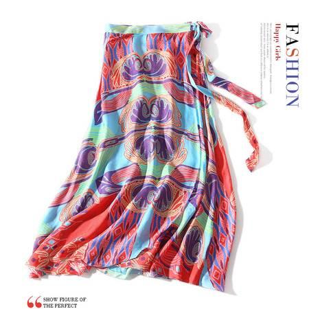 施悦名 2019夏季新款波西米亚拼色豹子印花一片式腰节系带围裹式长款半裙A