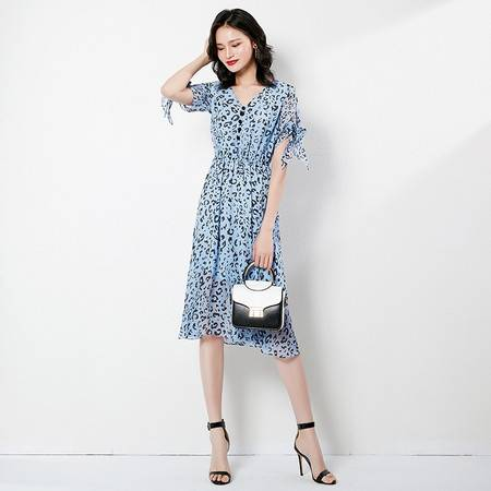 施悦名 2019夏季新款女装V领松紧腰洋气收腰显瘦短袖印花雪纺连衣裙A