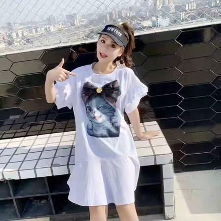 施悦名 2019夏新款韩版可爱猫咪贴布短袖荷叶边T恤宽松中长款连衣裙A