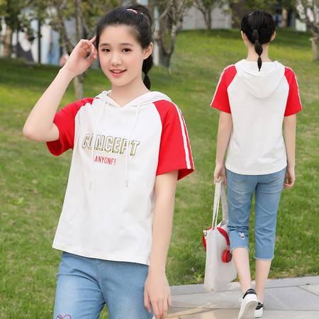 施悦名 2019夏季新款韩版女学生时尚休闲套装女式T恤7分裤两件套A