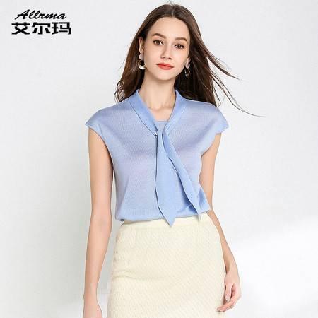 施悦名 针织衫夏女装短袖薄宽松气质天丝无袖14针上衣A