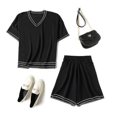 施悦名 套装女装针织衫19夏新款休闲两件套短裤+t恤运动休闲装A