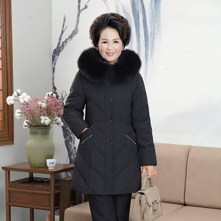 洋湖轩榭 加肥加大羽绒服女中老年韩版时尚羽绒服外穿妈妈装A