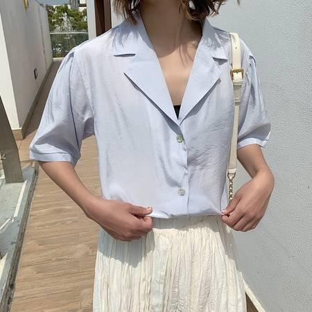施悦名 光感缎面短袖衬衫夏装微透防晒衫宽松版衬衫女气质上衣A