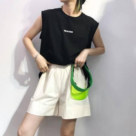 施悦名 2019夏季新款韩版女装高腰宽松阔腿裤休闲显瘦松紧腰a字短裤A