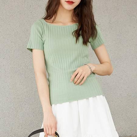 施悦名 2019夏季新款韩版女装紧身上衣短袖修身打底针织衫A