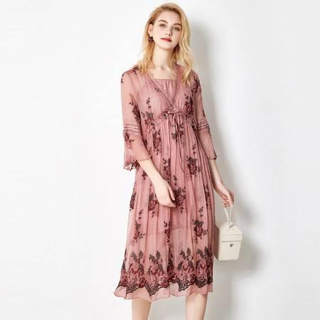 施悦名 夏季新款真丝连衣裙女气质V领蕾丝拼接桑蚕丝两件套A字裙A