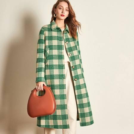 施悦名 双面呢羊绒大衣清新绿格纹2019秋冬减龄小翻领外套女装A