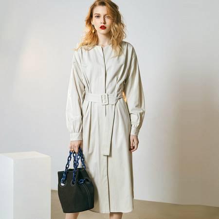 施悦名 2019春夏季新款女装气质风衣高腰单排扣开衫连衣裙女外套A