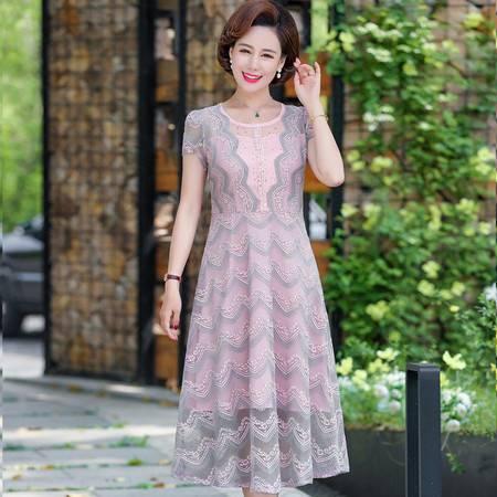 洋湖轩榭 中老年女装夏短袖时尚连衣裙 妈妈装新款洋气修身蕾丝裙子A