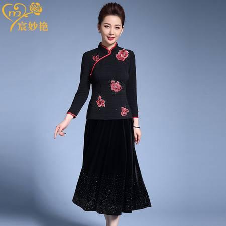施悦名 妈妈装T恤中国风复古改良旗袍中式唐装纯色立领喜庆绣花上衣A