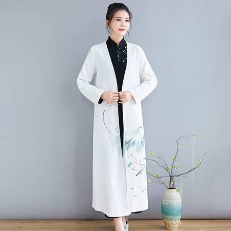施悦名 2019秋冬新款外披百搭白色中国风手绘时尚大气外披女A