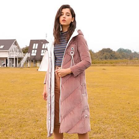 施悦名 羽绒服女士中长款灯芯绒连帽保暖冬装过膝加厚防风外套A