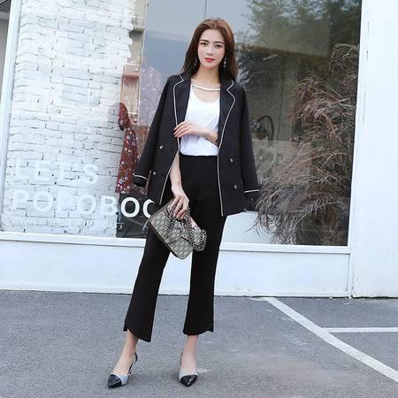施悦名 春冬韩版OL通勤修身显瘦气质长袖小西装+西装裤两件套套装女A