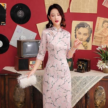 施悦名 新品丝绸长款双层印花旗袍 日常复古高开叉走秀旗袍A