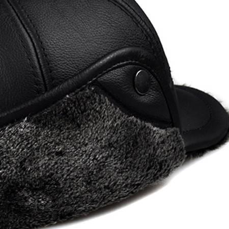 汤河之家 海宁真皮冬季老年帽头层牛皮内衬护耳加绒保暖带鸭舌冬帽B