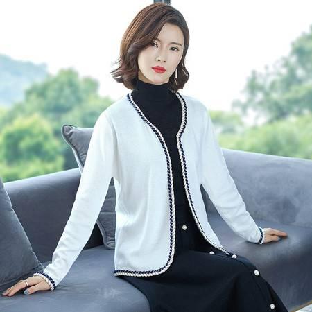 施悦名 2019秋季新款韩版纯色针织外套女 气质百搭短款修身开衫A