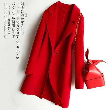 施悦名 2019秋冬新款双面呢大衣女纯羊毛外套中长款修身时尚毛呢外披A