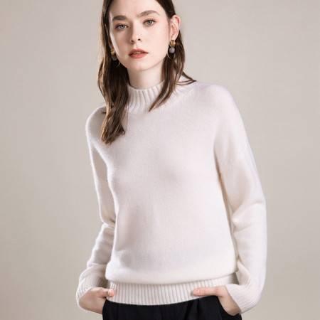 施悦名 秋冬新款纯羊绒衫女半高领山羊绒衫加厚毛衣针织打底羊毛衫A