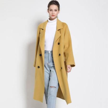 施悦名 双面呢羊毛大衣毛呢外套女中长款2019新款女装宽松阿尔巴卡呢大衣A