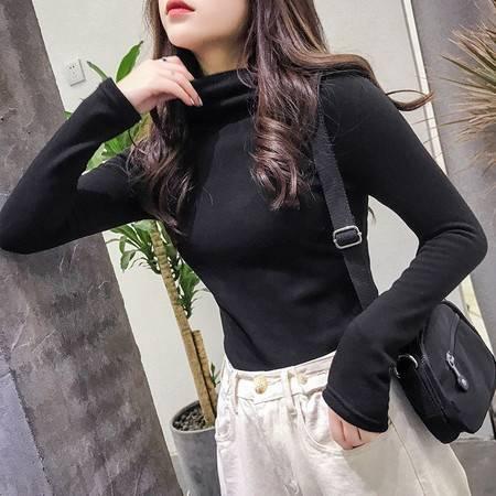 施悦名 2019秋冬新款韩版半高领纯色薄绒长袖t恤女打底衫女装A