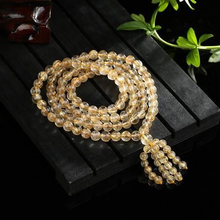 汤河店 自然水晶发晶佛珠 钛晶款金发晶108颗佛珠手链 聚财招财饰品礼品