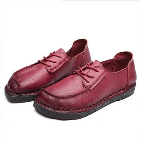 小童马 手工女鞋2019秋季新款复古真皮女士单鞋一件代发圆头软底休闲女鞋 C