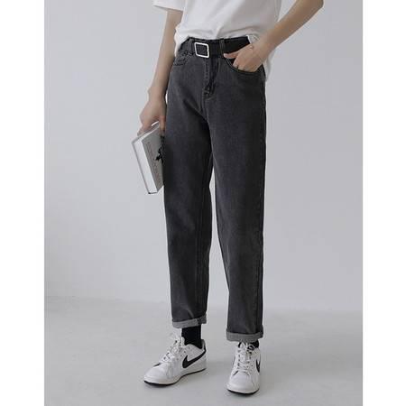 施悦名 2019年秋季新款 水洗纯色品质牛仔裤高腰显瘦修身黑灰色九分裤女A