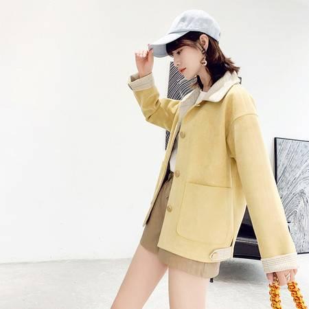 施悦名 2019春季新款甜美纯色翻领长袖修身单排扣大口袋外套女A