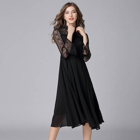 洋湖轩榭 黑色连衣裙加肥加大码女装 欧美长款镂空蕾丝宽松大摆A字200斤裙A