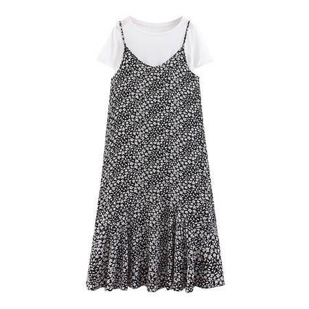 洋湖轩榭 吊带裙套装 2019夏装新款大码女装铜氨丝雪纺连衣裙两件套A
