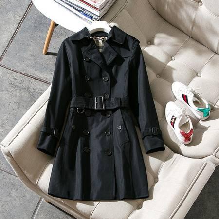 施悦名 欧美新款经典双排扣风衣女长款修身显瘦蜂蜜色棉大衣A