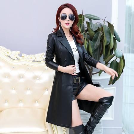 施悦名 2019秋冬季女士新款pu皮衣女中长款大码外套韩版修身风衣A