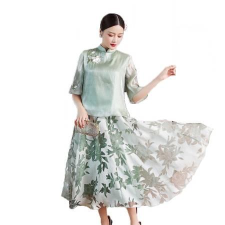 施悦名 早秋女装民国风新中式碎花刺绣汉服裙套装唐装上衣两件套女A