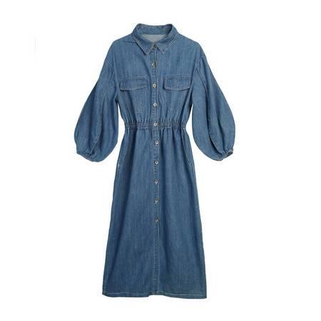 施悦名 2019秋季新款韩版修身单排扣灯笼袖牛仔风衣式连衣裙女A