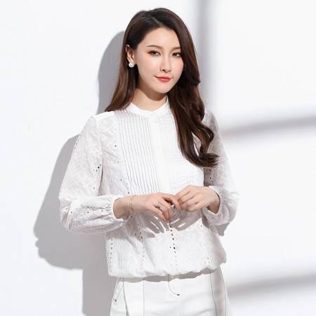 施悦名 2019长袖针织衫女秋季新款雪纺衫缕空条纹开衫OL通勤韩版女式衬衫A