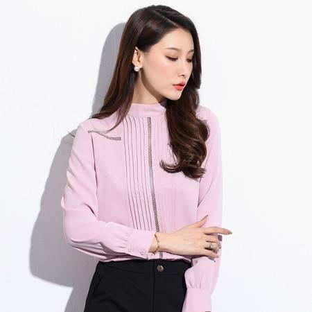 施悦名 2019秋季气质韩版雪纺女装套头立领衬衫修身型雪纺衫衬衫A