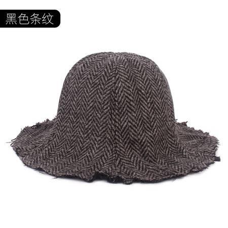 施悦名 新款秋冬户外保暖女士渔夫盆帽 潮流磨边复古流苏边大沿羊毛帽A