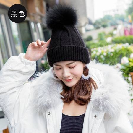 施悦名 冬季韩版新款保暖貉子毛球针织帽 女大球护耳朵毛线帽子A