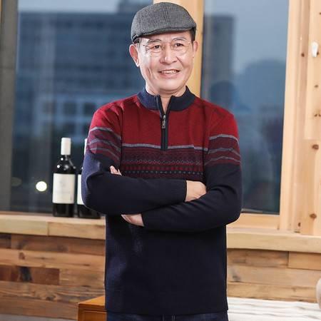 汤河之家  毛衣男40-50岁爸爸装冬季加厚半高领中老年人男装针织衫男B