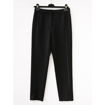 施悦名 明线装饰直筒小黑裤 时髦高挑显瘦休闲百搭裤子女A