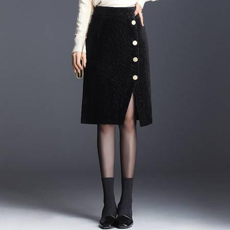 施悦名 2019秋季OL气质韩版女装拼贴灯芯绒包臀裙半身裙A