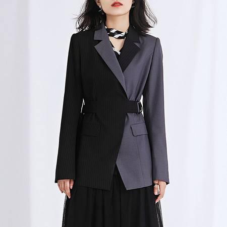 施悦名 2019新款高订气质修身显瘦撞色长袖西装外套A