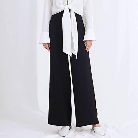 施悦名 高订面料气质复古长裤秋季新款高腰直筒裤女A