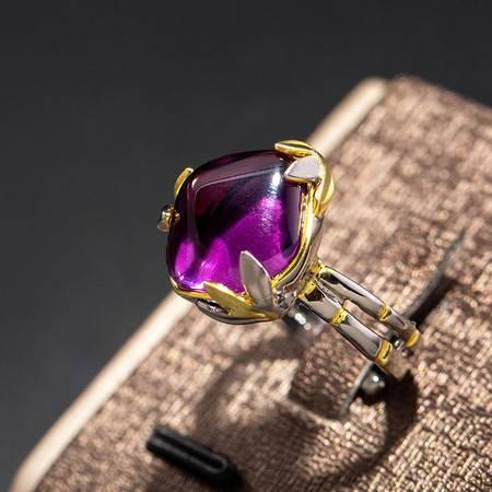 汤河店 紫水晶纯银戒指女宝娲原创设计高端饰品手工制作艺宴会款复古戒指