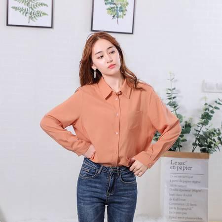 施悦名 韩版POLO领时尚女士衬衫纯色百搭白领上班族长袖休闲减龄上衣女装A