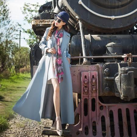 施悦名 2019秋女装新品欧美修身加长款大码风衣女长袖翻领女式大衣外套A