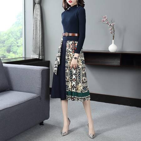 施悦名 2019秋季新款女装长袖复古拼接长款裙子收腰显瘦气质连衣裙A