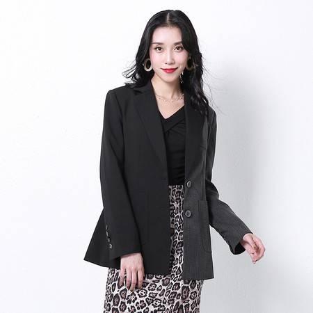 施悦名 2019秋季新款女装OL通勤撞色长袖修身中长款西装外套女A