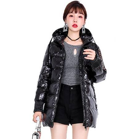 施悦名 2019新款羽绒服欧美潮流时尚加厚90%白鸭绒中长款外套女冬季A